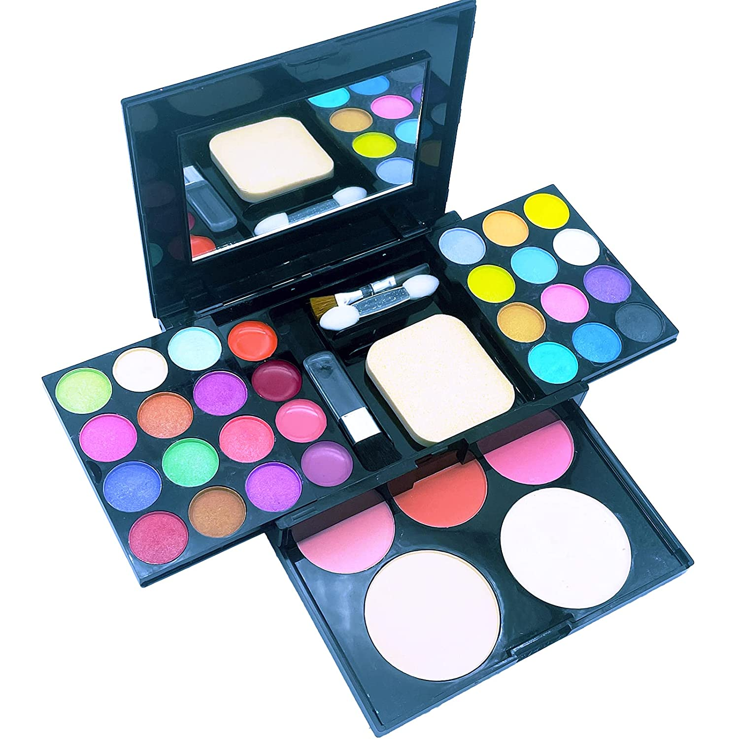 Eye Makeup Palette Set, 39 Bright Colors Matter and Shimmer Lip Gloss Blush Brushes, Colorful Long Lasting Blendable Professional Waterproof Eye Shadow Palette for Girls Festival Birthday Gift