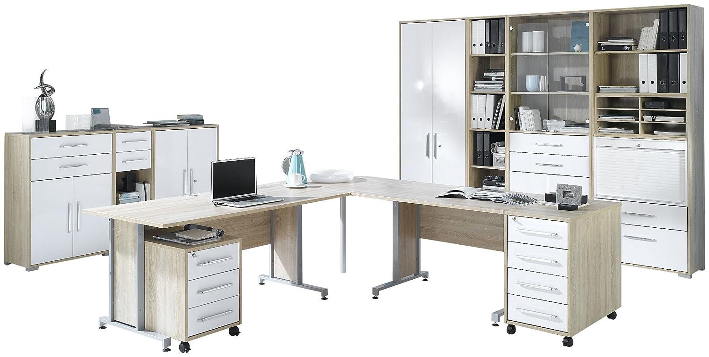 MAJA Möbel 1205 2556 Büroprogramm SYSTEM, Sonoma Eiche Nachbildung   Weiß  Hochglanz: Amazon.de: Küche U0026 Haushalt