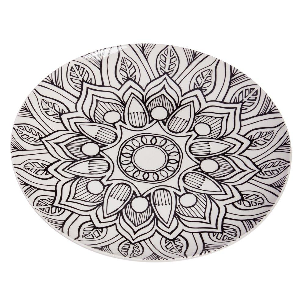 Cypress Home Coloring Book Inspired Mandala Ceramic Serving Platter
