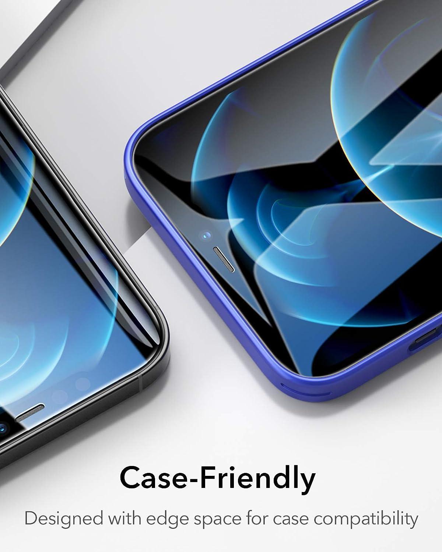 ESR Panzerglas Displayschutzfolie Kompatibel mit iPhone 12 und 12 Pro Panzerglas 3 St/ück Praktischer Montagerahmen