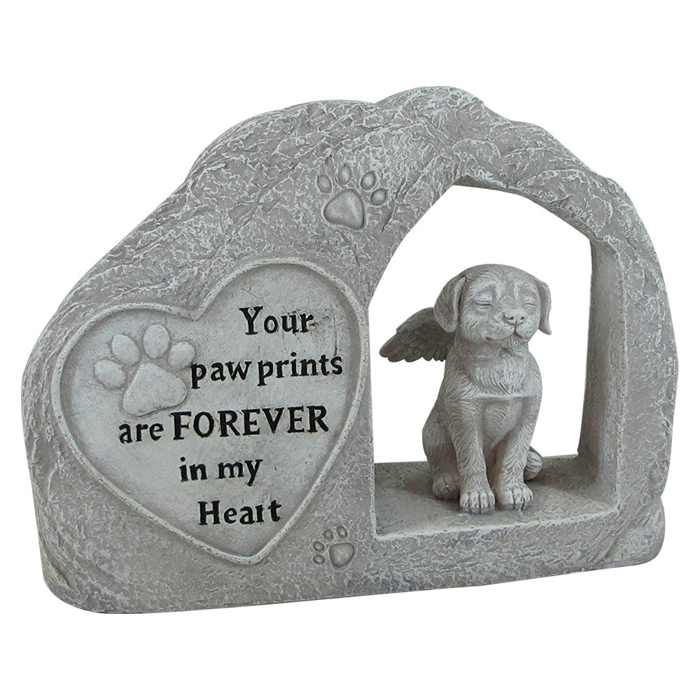 """Comfy Hour 7"""" Height Polyresin Memorial Dog Angel Pet Statue, Handmade Light Gray, Stone Looking, for Your Home Or Garden"""