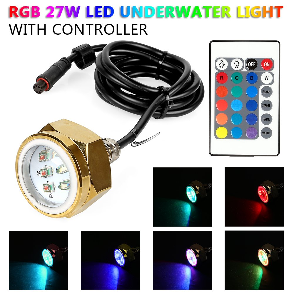 LeaningTech 27w RGB Led Drain Plug Light Boat Underwater Remote Control Diving Fishing Lamp Deck/Marine/Boat Waterproof Color Changing