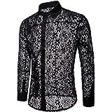 5143c754bb58 GONKOMA Men's Lace Shirts Stylish Long Sleeve Lace Shirt Tops Blouse Basic  Slim Fit Shirts Top
