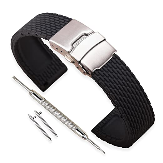 Vinband Correa Reloj Calidad Alta Recambios Correa Relojes Caucho Hombre Mujer Negro - 18mm, 20mm