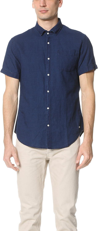 Scotch & Soda - Camisa de Manga Corta para Hombre (Lino Arrugado)