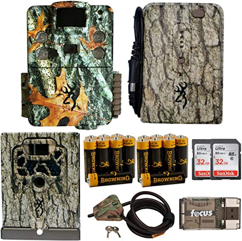 Browning Trail Cameras Strike Force HD Apex 18MP Game Cam with Full Field Kit Security Box and Cable Lock, Power Pack and Batteries, Cards and Focus Reader