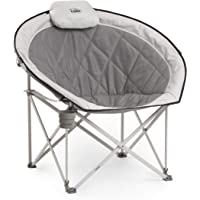 Core Equipment Moon Chair Over Sized Padded Moon Camping, Outdoor, Garden And Picnic Chair - Grey, Medium