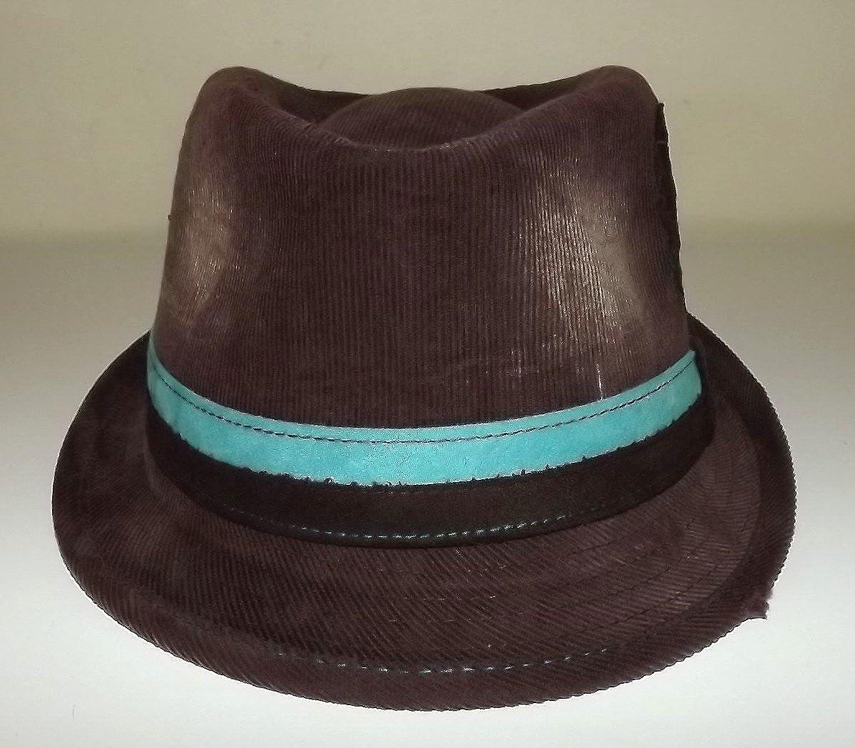 Daniel Cremieux Mens Cotton Twill Fedora Hat Brown Aqua Band Medium//Large