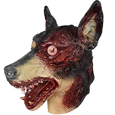 385808501ac73 Evil Zombie Dog Latex Mask Animal Full Overhead Halloween Doberman Fancy  Dress Horror Costumes Cosplay