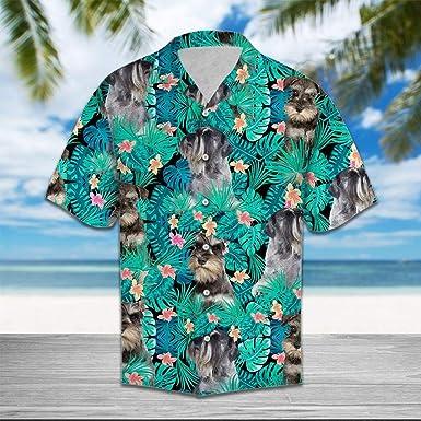 Camisa de Hawaii Schnauzer Tropical en miniatura