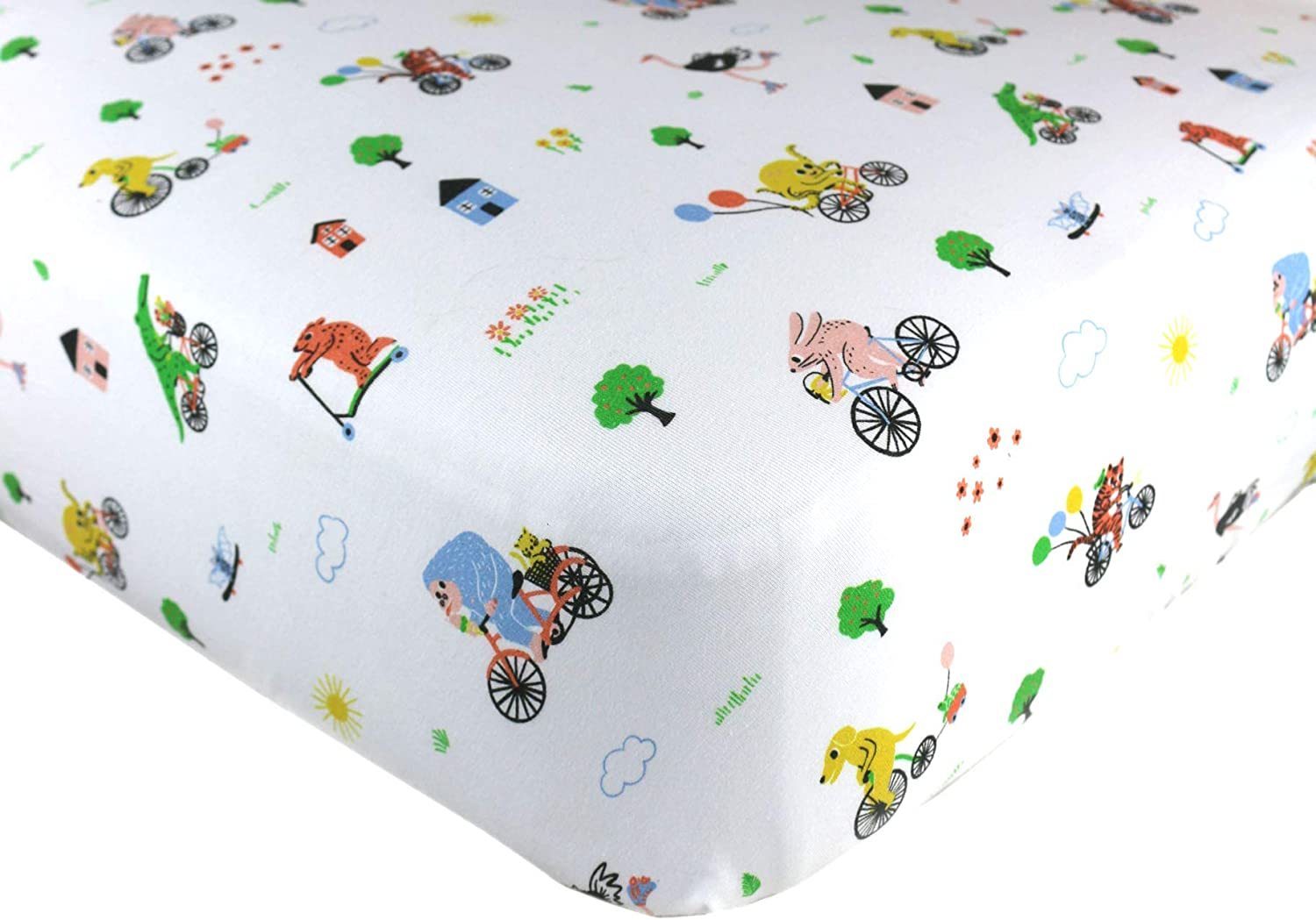 Organic Animals on Bicycles Soft Newborn Baby Cotton Bed Sheet