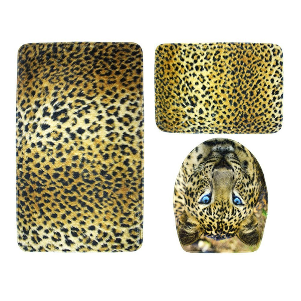 CandyPlay Bath Rug 3-Piece Set Non-Slip Washable Bathroom Mat Set Animal Print(Leopard)