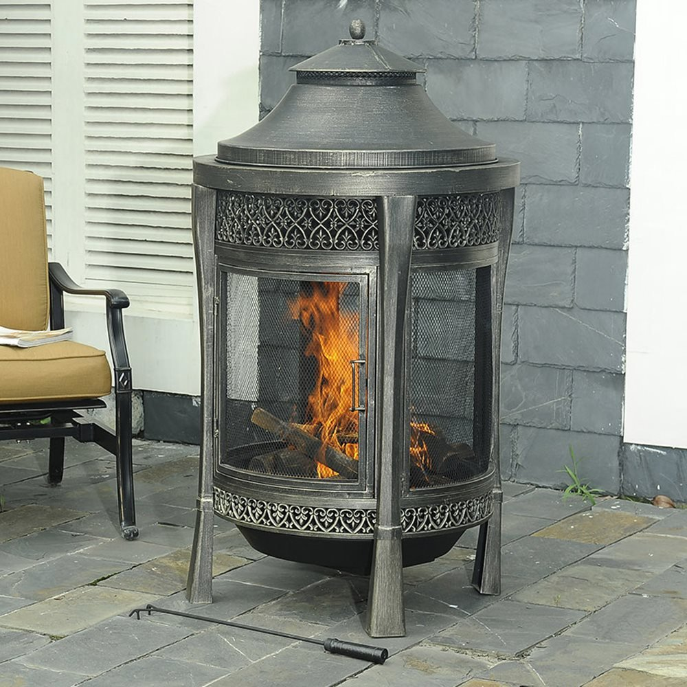 amazon com sunjoy large cast steel outdoor fireplace 62