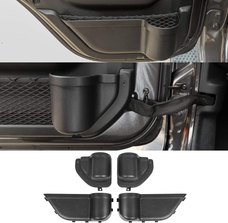 Front Door + Rear Door YOCTM Front and Rear Door Organizer Tray For 2018 2019 2020 Jeep Wrangler JL JLU Rubicon Sport Sahara 2020 Gladiator Interior Storage Accessories Black