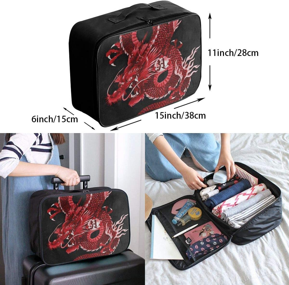 Travel Bags Japanese Red Dragon Portable Foldable Trolley Handle Luggage Bag