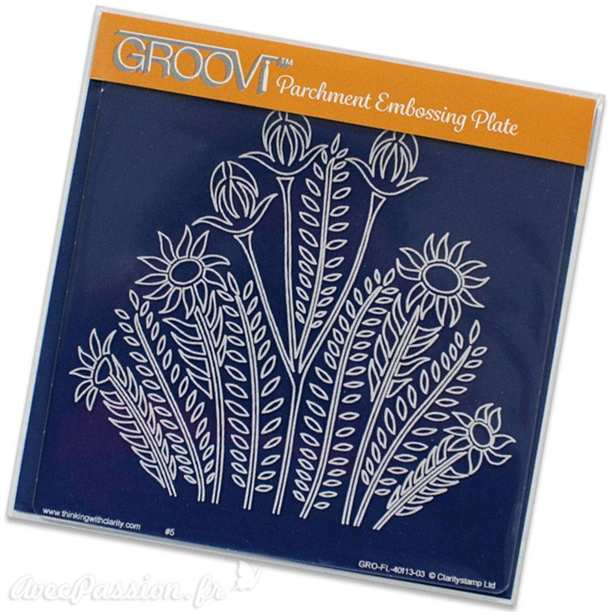 Groovi Embossing Plate ~ Wild Flowers Square Plate, GRO40113 Claritystamp