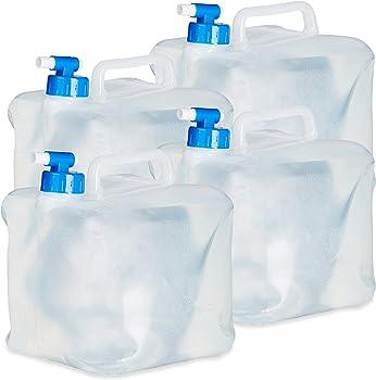 ELAXDAYS Juego 4 garrafas cuadradas de Agua Plegables con Grifo y asa