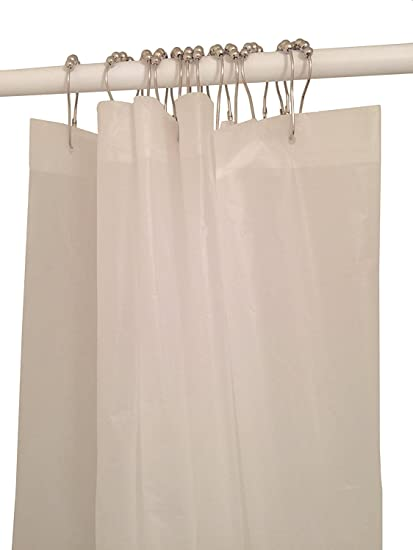 Spoil Yourself Mildew Resistant Shower Curtain Liner Bundle With 12 Rust Proof Chrome Polished Rings