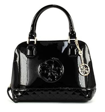 b57ccac87d GUESS Amy Shine Small Dome Satchel Black: Amazon.fr: Chaussures et Sacs
