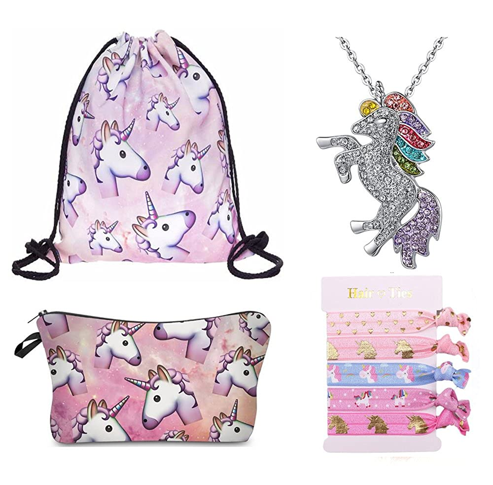 Cute Unicorn Drawstring Backpack/ Makeup Bag/ Necklace/ Hair Ties for Party Favors