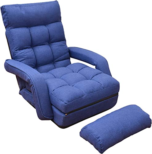 WAYTRIM Indoor Chaise Lounge Sofa, Folding Lazy Sofa Floor Chair 6-Position Folding Padded, Lounger Bed with Armrests and a Pillow Chaise Couch – Blue