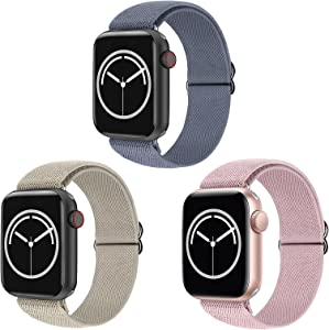 KRISVI Stretchy Solo Loop Strap Compatible with Apple Watch Bands 38mm 40mm, Soft Breathable Sport Braided iWatch Bands Replacement Wristband for iWatch Series 6 5 4 3 2 1 SE (3-Pack, 38/42)