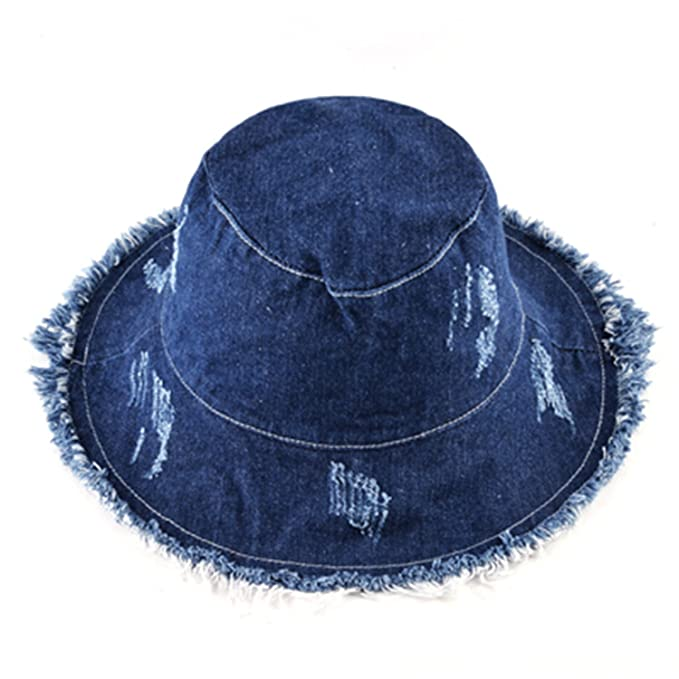 Madehappy Summer Sun Hats for Women Fisherman Cap Women s Washed Denim  Bucket Hat Ladies Wide Brim 4baa786a214e