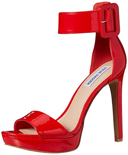 Steve Madden Women's Circuit Dress Heeled Sandal Red-Patent Size 5