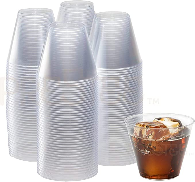 9 Oz Clear Plastic Cups Small Disposable Cups Old Fashioned Tumblers 200 Pack Beverage Party Cups Hard Plastic Drinking Cups Ideal For Wine Cocktails Punch Drinket Amazon Ca Home Kitchen