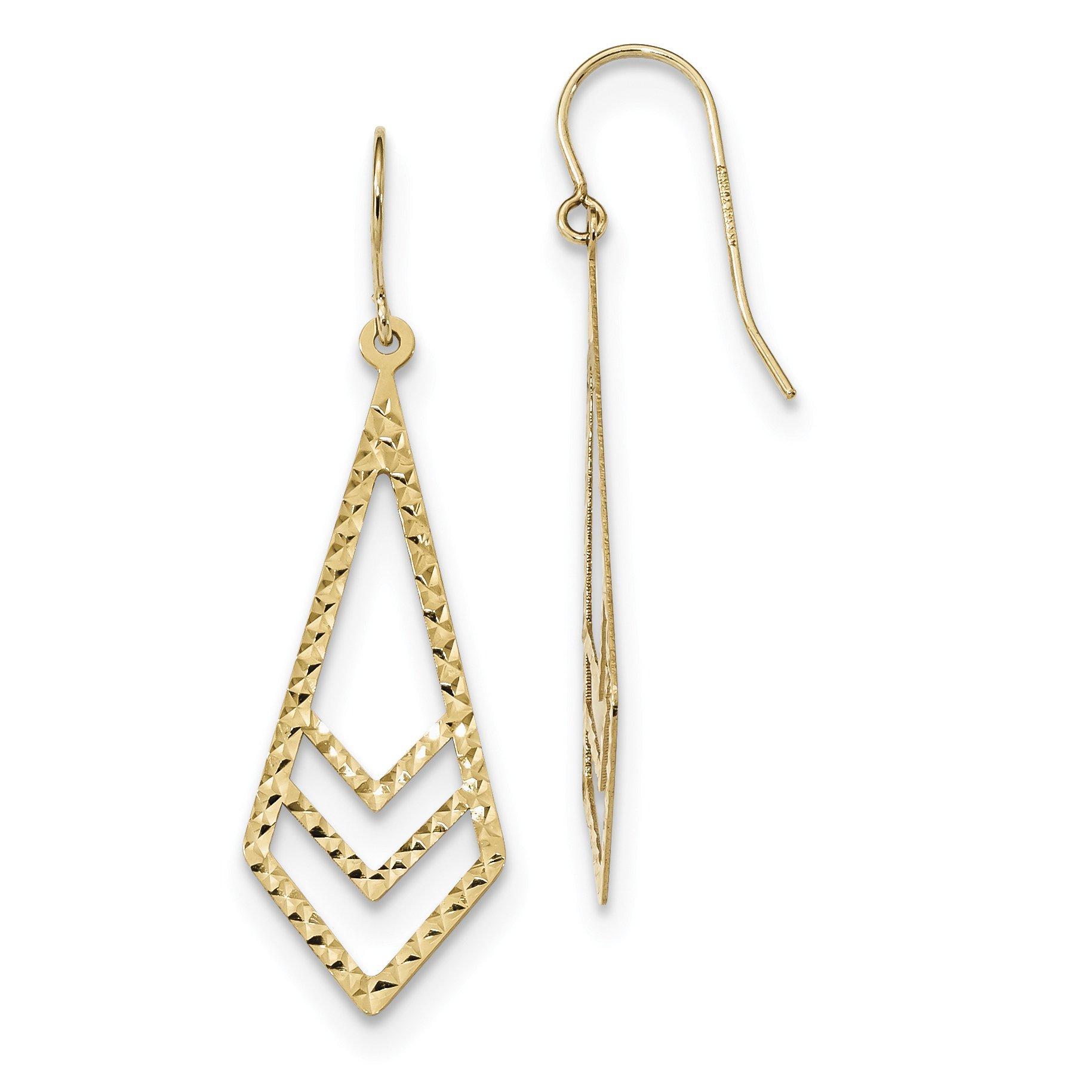 ICE CARATS 14k Yellow Gold Textured Drop Dangle Chandelier Earrings Fine Jewelry Gift Set For Women Heart