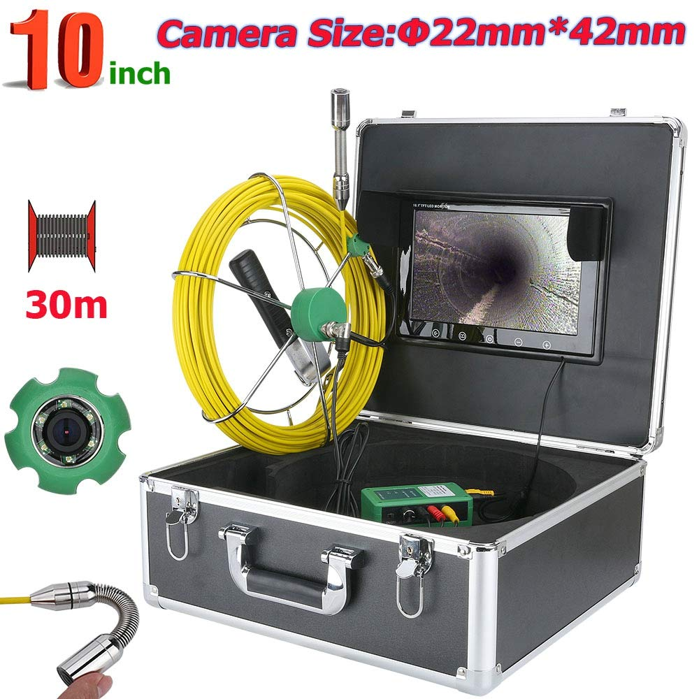 管の点検ビデオカメラ、30M IP68は6W LEDライトが付いている下水管の点検カメラシステム10inch 1000 TVLを防水します