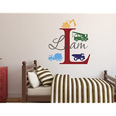 Custom Trucks Boy Name Wall Decal - Construction Wall Decals - Nursery Wall Decals - Trucks Decal - Vinyl Baby Nursery Decor (26Wx28H): Baby