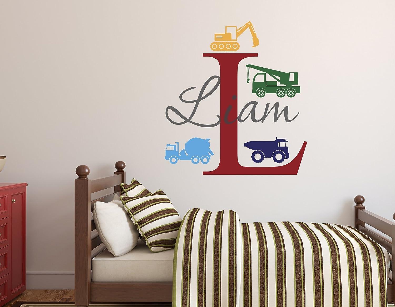 Custom Trucks Boy Name Wall Decal - Construction Wall Decals - Nursery Wall Decals - Trucks Decal - Vinyl Baby Nursery Decor (26Wx28H)