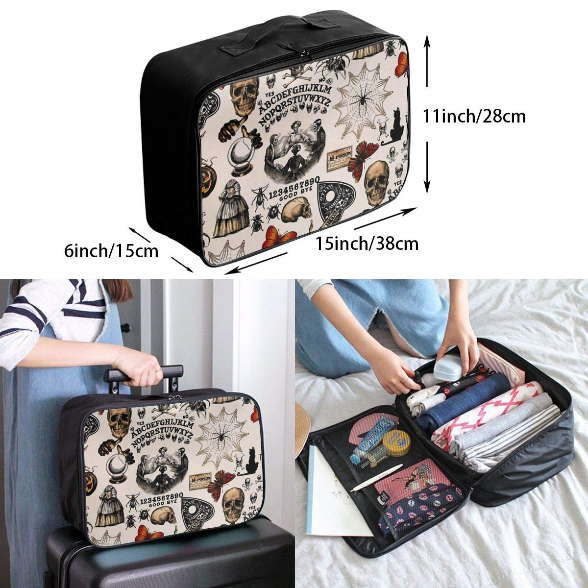 Colorful Witch Board Gothic Travel Lightweight Waterproof Foldable Storage Portable Luggage Duffle Tote Bag Large Capacity In Trolley Handle Bags 6x11x15 Inch