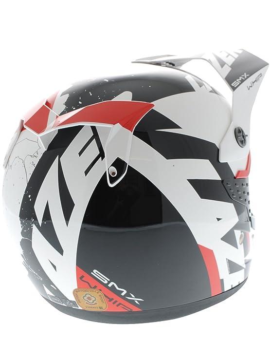 Casco Mx Lazer Smx Whip Blanco-Negro-Rojo (Xl , Blanco): Amazon.es: Coche y moto