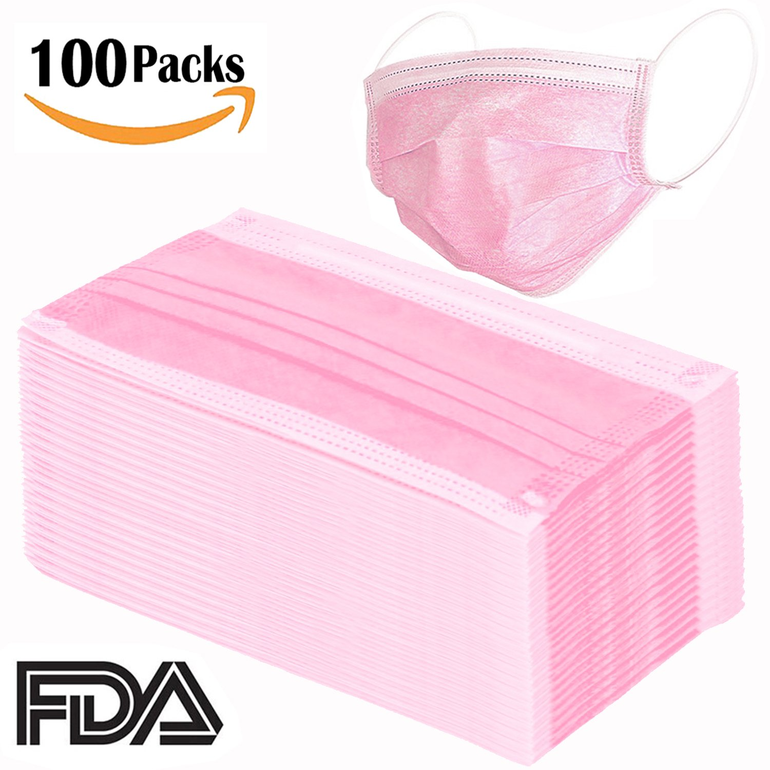 100 Pcs Disposable Earloop Face Masks Dental Surgical Hypoallergenic Breathability Comfort-Great for People with Allergies and The Flu(Pink) by Pruk