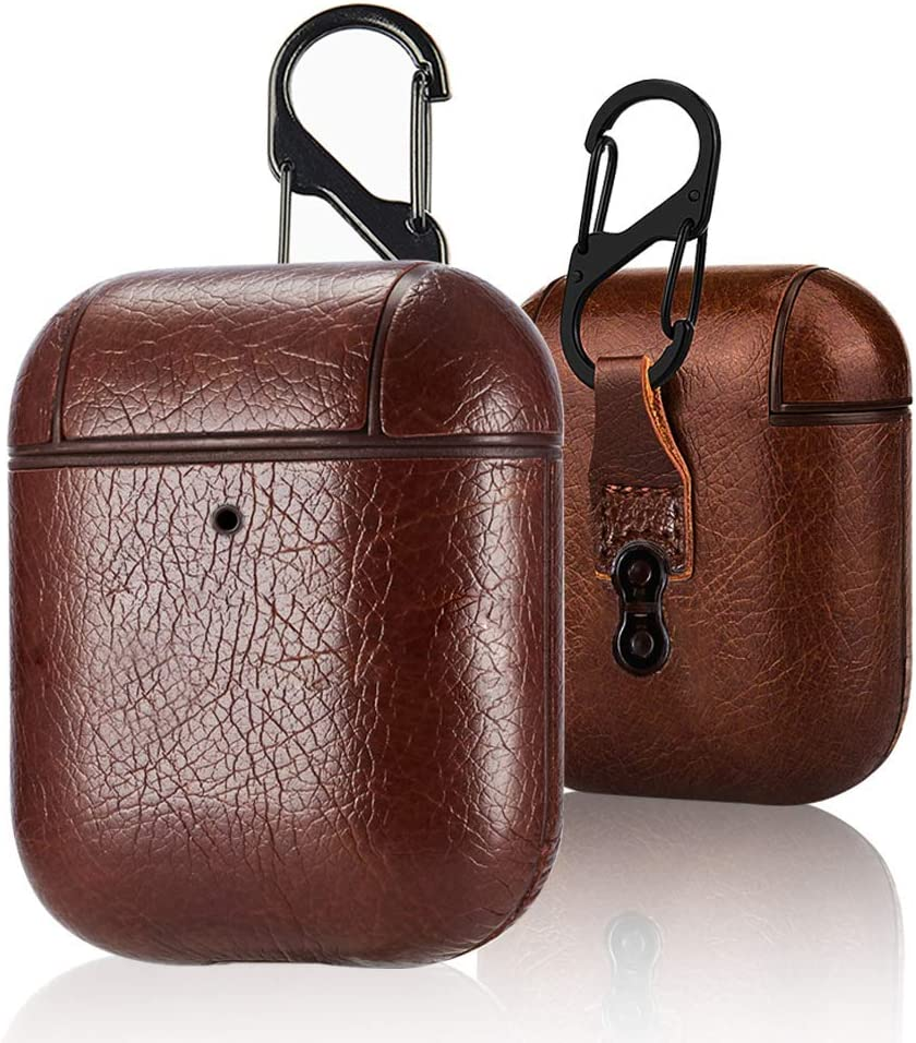 B-B World AirPods Leather Case with Strap, Leather Portable Protective Shockproof Cover for Apple AirPods 1 Case & Airpods 2 case Keychain Support Wireless Charging (Brown) (Brown)
