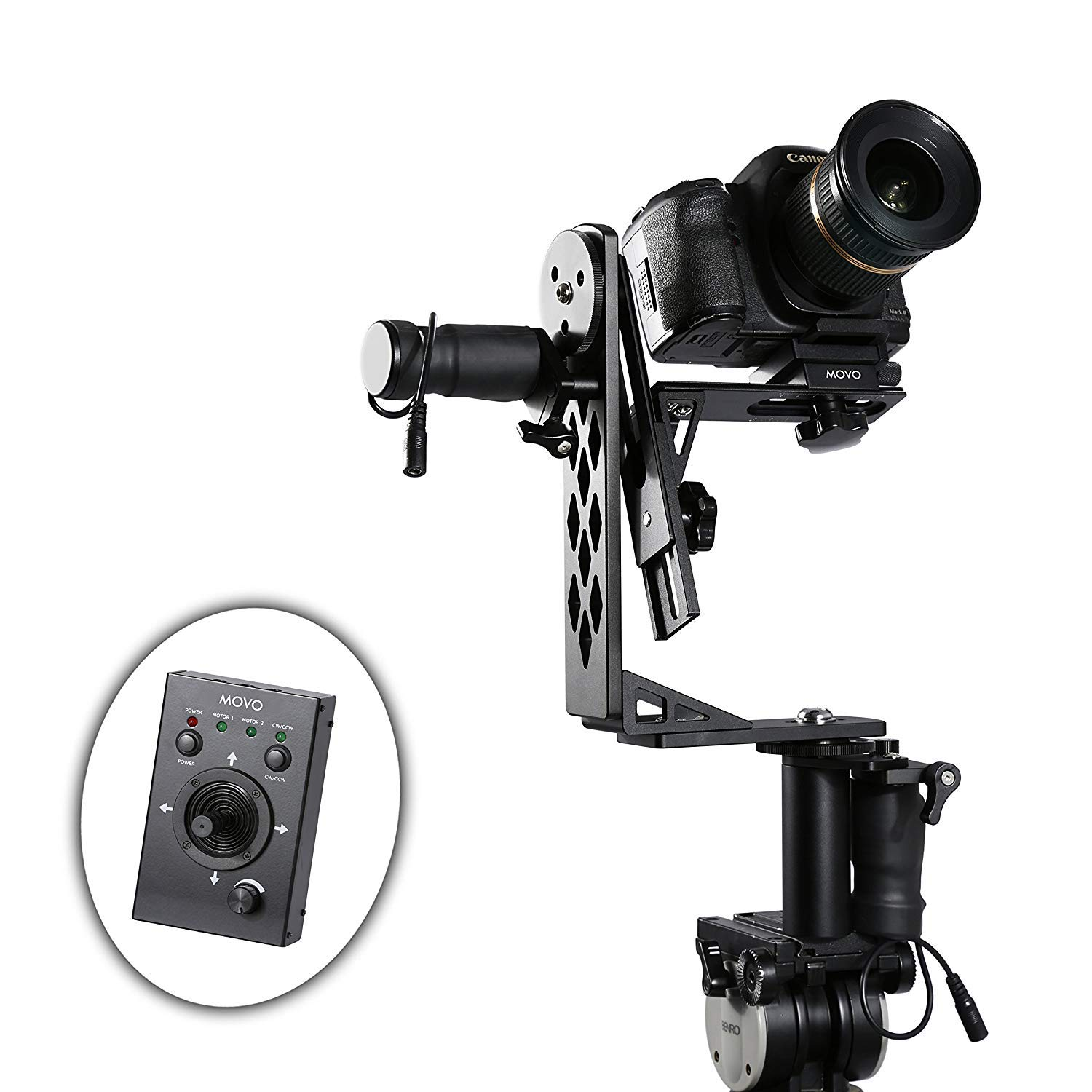 Movo Photo MGB-5 Aluminum Motorized 360° Pan and Tilt Gimbal Head for Tripods and Jibs - Supports Cameras up to 11 LBS by Movo