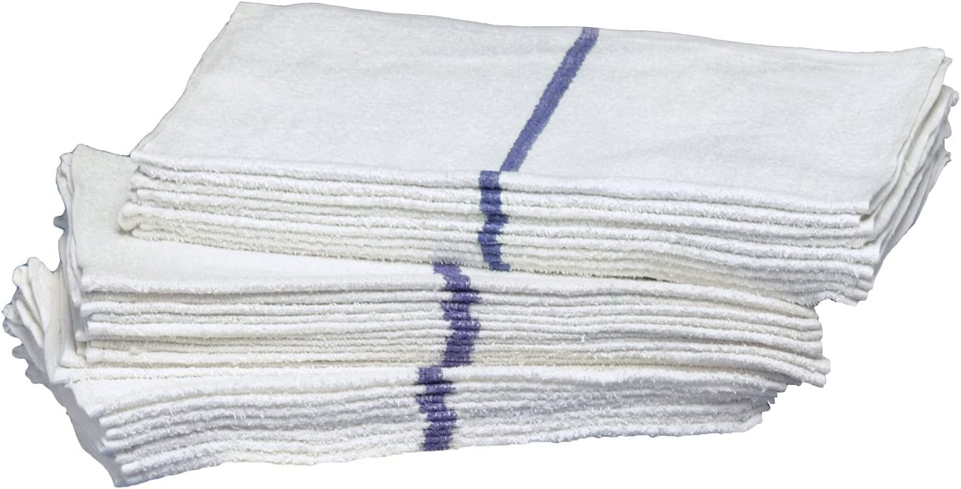 Pack of 12 Buffalo Industries Blue 60224 16-Inch X 19-Inch Striped Bar Towel