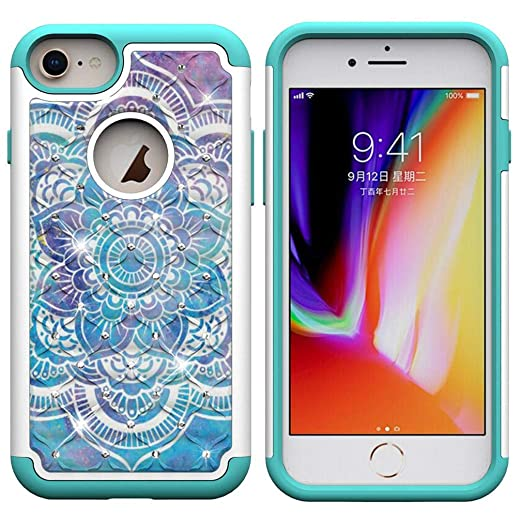 Amazon.com: iPhone 6/6S/7/8 Case,Durable Slim 2 in 1 Hybrid Case Back Cover Rugged PC with Colorful Pattern & Point Drill Inner Soft TPU Bumper Case ...