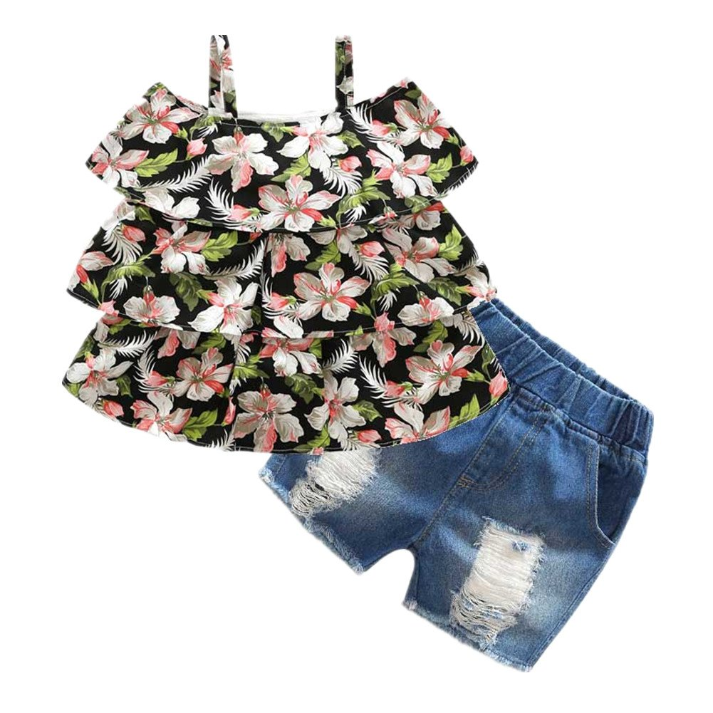 Beide Girls Summer Outfits 2 Piece Jean Shorts and Floral Tank Tops(4T)