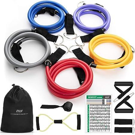 Juego de bandas de resistencia MHSY bandas de entrenamiento, 12 unidades de bandas de ejercicio portátiles para el hogar, gimnasio, accesorios para ...