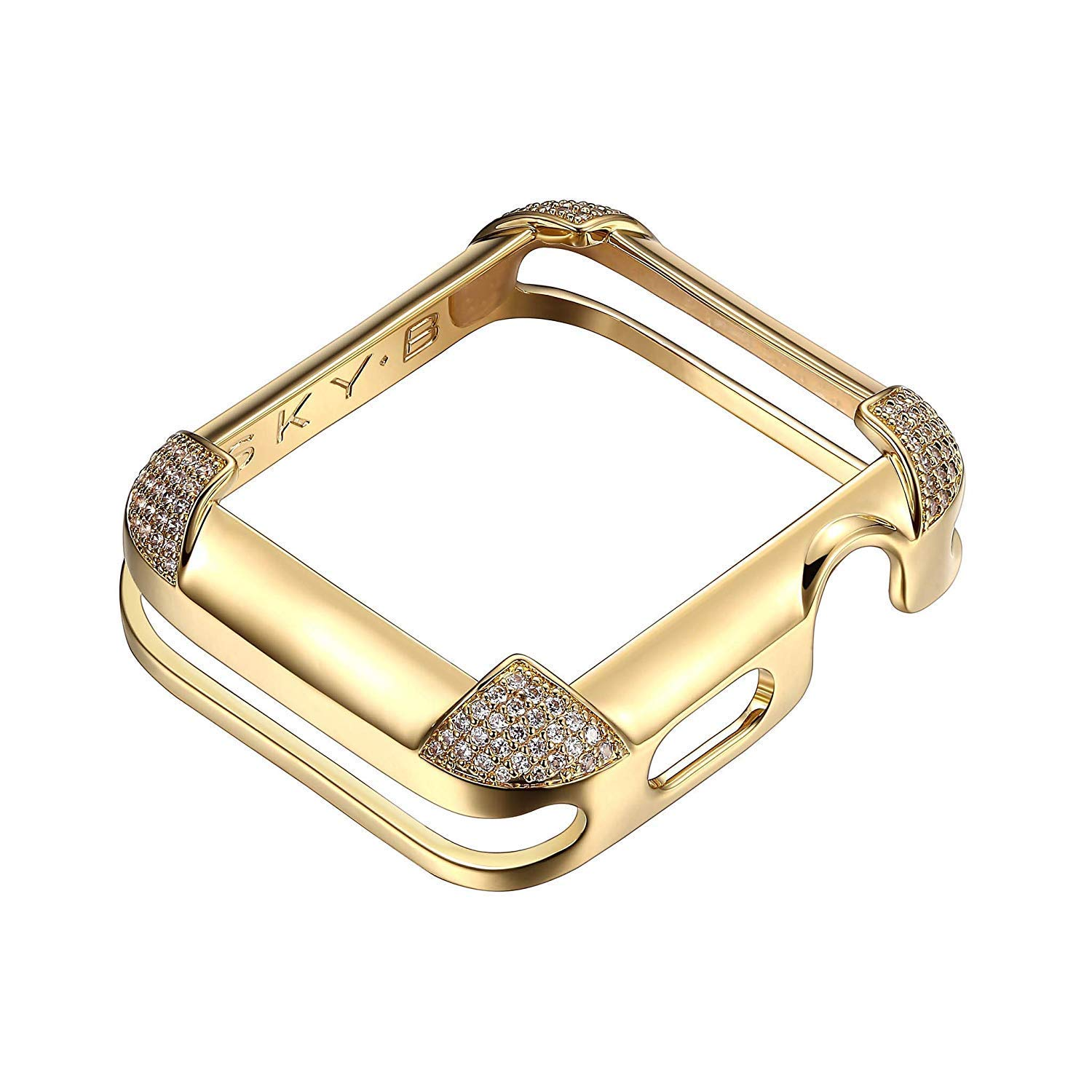 18K Yellow Gold Plated Jewelry-Style Apple Watch Case with Cubic Zirconia CZ Pavé Corners - Medium (Fits 40mm Series 4 iWatch) by SKYB
