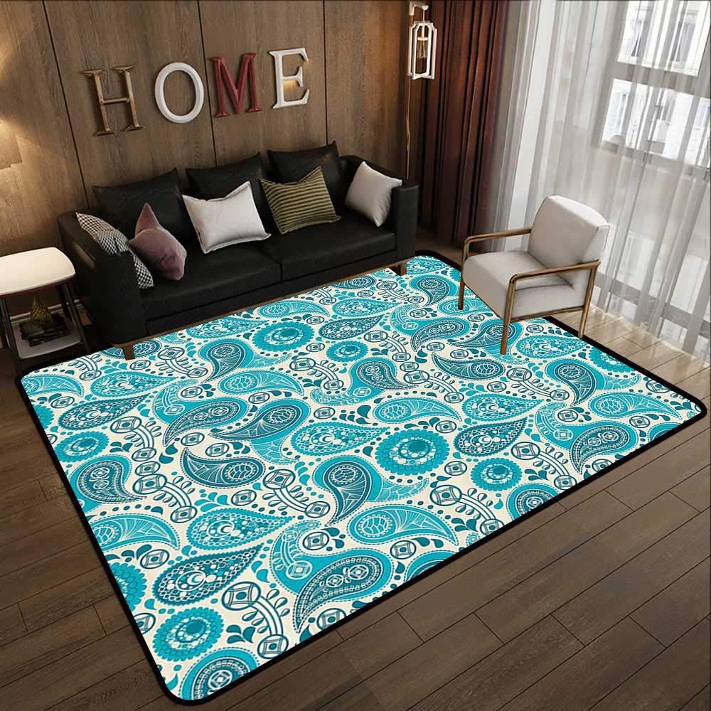 Pattern10 78.7 x 94 (W200cm x L240cm) Carpet mat,Turquoise Decor Collection,Round Ethnic Pattern with Emerald Mandala Elements Eastern Oriental Artful Design,Teal White 63 x 94  Floor Mat Entrance Doormat