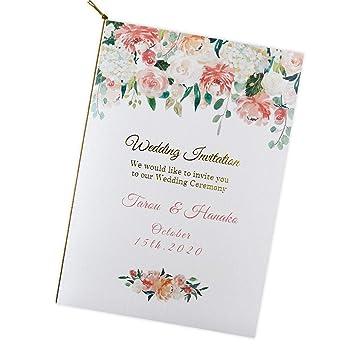 ペーパーアイテム いっぽ 名入れ 結婚式 招待状 手作りキット ペールピンクアーチ 10枚 セット (返信はがき:アレルギー表記あり)