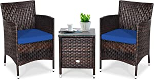 Tangkula Patio Furniture Set 3 Piece, Outdoor Wicker Rattan Conversation Set with Coffee Table, Chairs & Thick Cushions, Suitable for Patio Garden Lawn Backyard Pool (Navy)