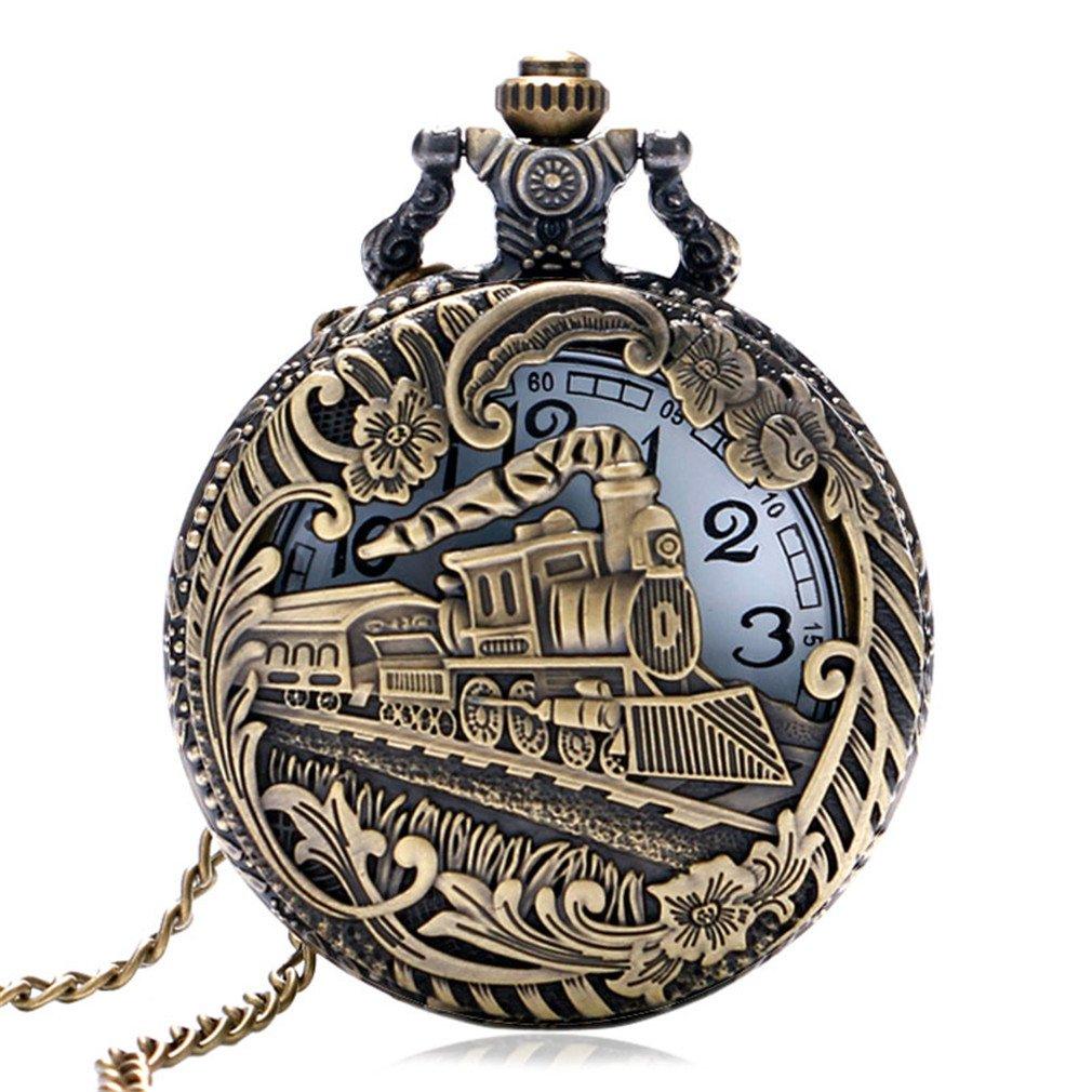 Vintage Retro Bronze Hollow Train Locomotive Steampunk Quartz Pocket Watch Women Men