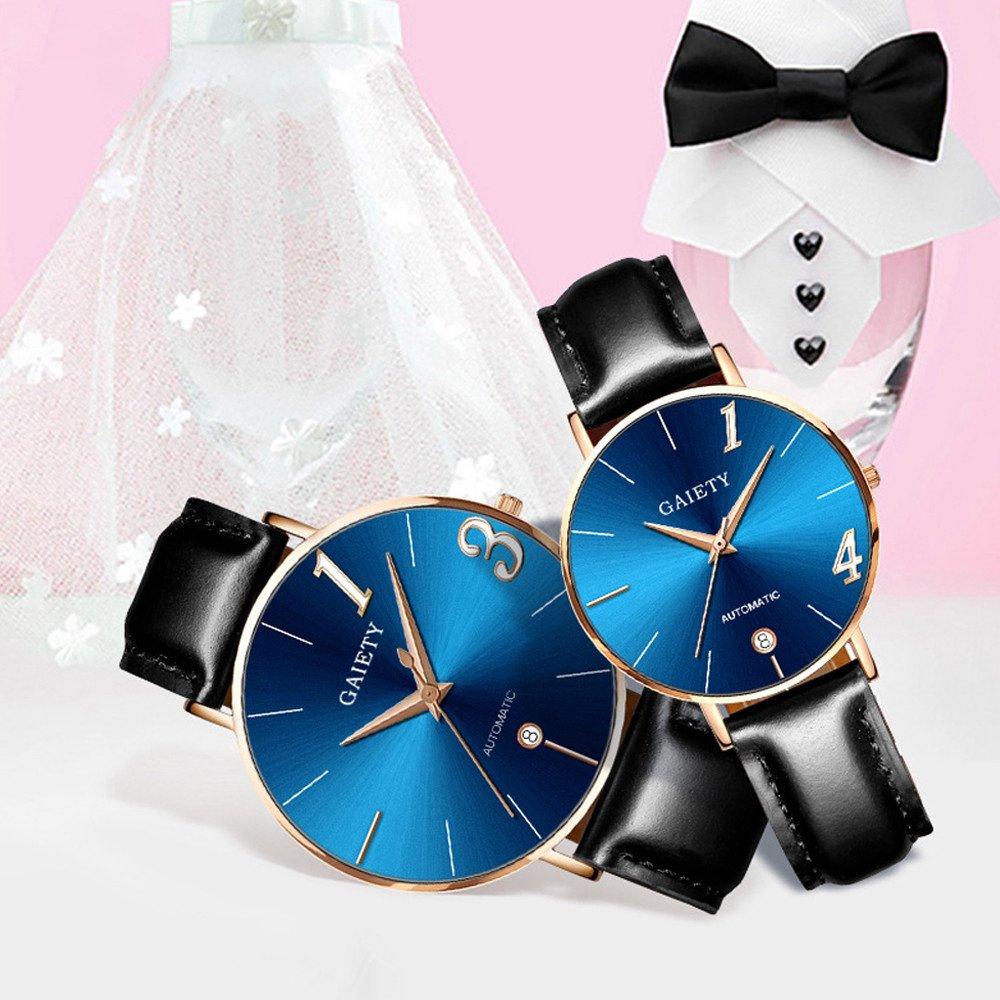 Dylung Reloj para Pareja de Hombres y Mujeres Unisex Relojes de Pulsera de Moda Casual con Cuarzo Reloj Analógic Correa de Piel Caja de Acero Inoxidable ...
