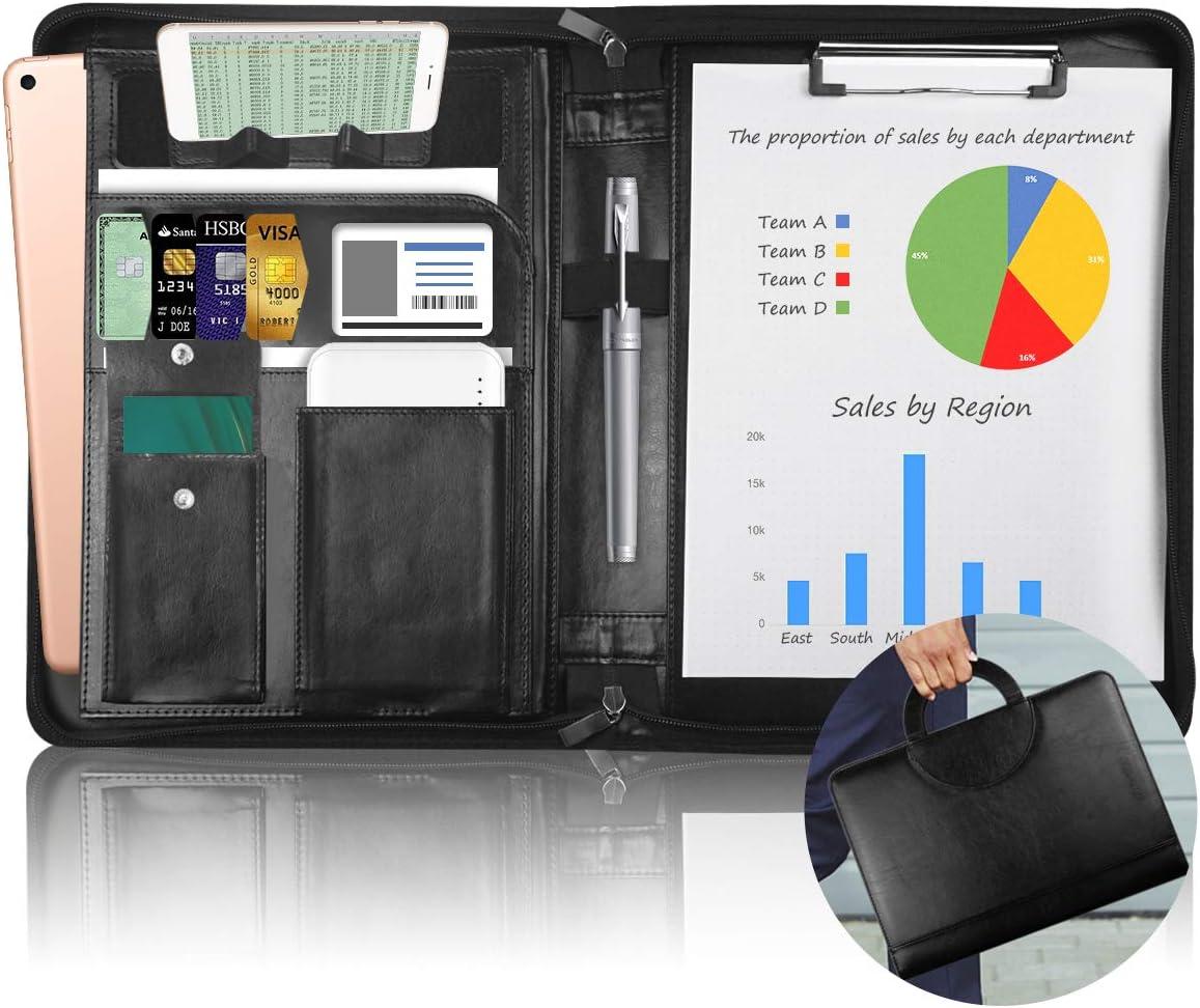 NEWYES Carpeta Portadocumentos | Portacuadernos de Viaje con compartimentos separador | Hojas borrables y Boli Incluido [Cuero Imitación] [Negro]