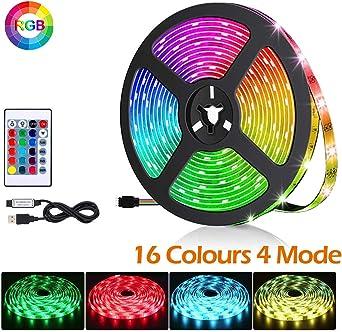 Tira LED de TV, 2M 60 LED 5050 RGB Multicolor Retroiluminación LED ...